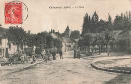 02 Crezancy La Place Cpa Carte Animée Cachet Crezancy 1912 - France