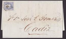 1872. GIBRALTAR A CÁDIZ. 50 MILS. ULTRAMAR MAT. ROMBO PUNTOS. FECHADOR. PRECIOSO EJEMPLAR. INTENSÍSIMO COLOR. MUY RARO. - Gibraltar