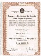 Titre Ancien - Compagnie Générale DesTramways Electriques De Rosario - Société Anonyme En Liquidation - Titre De 1955 - Chemin De Fer & Tramway