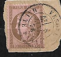 France  N°  54  Sur Fragment  Oblitéré B/TB   Cachet à Date Vesoul Le 08/04/1876       ...soldé à Moins De  10 %  ! ! ! - 1871-1875 Cérès
