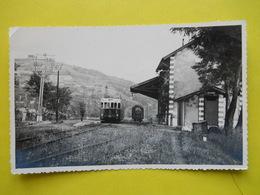 Photo ,gare , Train ,tramway, Autorail à Lingostiere ,dentelée Format Cpa - Trains