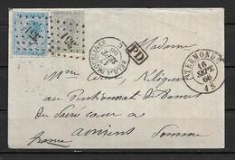OBP17 En 18 Op Brief Uit 1866 Vanuit Termonde Naar Amiens (France) Met Amb. Stempels Belg. à Erqueline En France Midi II - 1865-1866 Profil Gauche