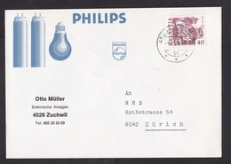 Switzerland: Cover, 1981, 1 Stamp, History, Advertorial Philips Electric Light Bulb (traces Of Use) - Suisse