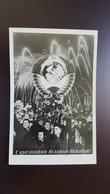 "OLD USSR Postcard - Parade - State Emblem -  ""October Day"" 1956 Sent From Leningrad To Voroshilovgrad - Russia"