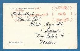WIEN1 BARBEZAHLT OSTERREICH 008 GROSCHEN TO ROMA - Briefe U. Dokumente
