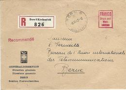 Lettre Avec Affranchissement à Forfait De La Direction Générale Des PTT, Obl. Bern 5.III.42, Recommandé - Suisse