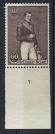 N° 302 Koning Leopold I - Plaatnummer 7 * - ....-1960