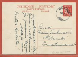 FINLANDE ENTIER POSTAL DE 1952 DE PIHLAJAVESI POUR HELSINKI - Finland