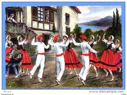 CP139 CPM 75 Types Basque Le Fandango - Illustrateur ?? (non écrite) - Danses