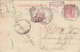 Mondragone. 1918. Annullo Guller MONDRAGONE (CASERTA) + Frazionario MINTURNO + Tondo Riquadrato TUFO (CASERTA) - Storia Postale