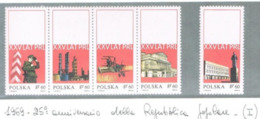 POLONIA (POLAND) - YV 1781.1785 - 1969  PEOPLE REPUBLIC ANNIVERSARY  (COMPLET SET OF 5, 4 SE-TENANT) - MINT** - RIF. CP - 1944-.... Repubblica