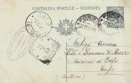Formia. 1915. Annullo Guller FORMIA (CASERTA) + Tondo Riquadrato TUFO (CASERTA), Su Cartolina Postale. - 1900-44 Victor Emmanuel III