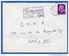 Ar2230 Secap 1932r Nogent Sur Marne 94 N° Code Postal Val De Marne 26/09/1968 / Lettre - Annullamenti Meccanici (pubblicitari)