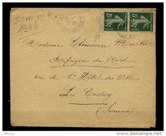 Ar2798 L 1916 Pour Le Crotoy Somme / Paire Verticale Semeuses 5c Vert YvT 137 - Brieven En Documenten