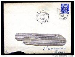 Ar2984 Lettre Cachet Hexagonal Pointillé  17-01-1952 Hourtin Marine Gironde - Poste Navale