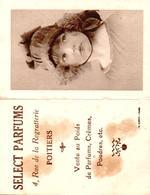 """Calendrier 1930  , Petite Fille ,"""" Parfums Select""""  4 Rue De La Regratterie à Poitiers - Petit Format : 1921-40"""