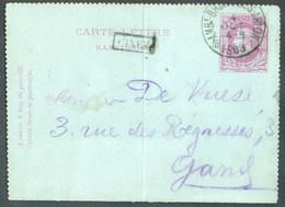 E.P. Carte-lettre 10 Centimes Carmin S/bleu, Obl. Sc AMBt BRUXELLES-ARLON 1 Du 4 Oct. 1883 + Griffe Enc. CINEY Vers Gand - Postbladen