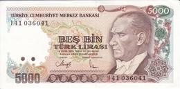 BILLETE DE TURQUIA DE 5000 LIRAS DEL AÑO 1970 EN CALIDAD EBC (XF)  (BANK NOTE) - Turquia