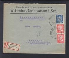 Dt. Reich R-Brief Lehmwasser Schlesien Nach Leipzig - Lettres & Documents