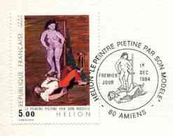 """1984 DOCUMENT PHIL. OFFICIEL """" - HELION - Le Peintre Piétiné Par Son Modèle"""" - Oblit. PJ AMIENS 1er DEC 1984 - Documents Of Postal Services"""