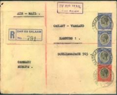 "1932, Registered Letter From ""DAR ES SALAAM"" To Hamburg. - Tanganyika (...-1932)"