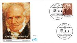 """BRD Schmuck-FDC """"200. Geburtstag Von Arthur Schopenhauer"""" Mi. 1357 ESSt 18.2.1988 BONN 1 - FDC: Covers"""