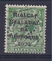 Ireland: 1922   KGV OVPT    SG1    ½d    Used Perfin - 1922 Provisorische Regierung