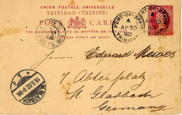 """1902- C P E P One Penny From Port-of-Spain To Germany French  """" LIGNE D / PAQ.FR.N° 1 """" - Trinidad Y Tobago"""