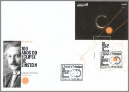 SAO TOME 2019 FDC Albert Einstein Eclipse Sonnenfinsternis S/S - OFFICIAL ISSUE - DH2008 - Albert Einstein