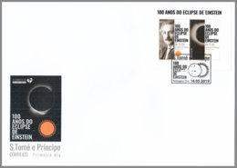 SAO TOME 2019 FDC Albert Einstein Eclipse Sonnenfinsternis M/S - OFFICIAL ISSUE - DH2008 - Albert Einstein