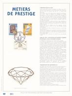 Exemplaire 001 Feuillet Tirage Limité 500 Exemplaires Frappe Or Fin 23 Carats 2445 à 2447 Métiers De Prestige Diamant - Hojas