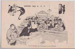 MORER Illustrateur Scènes Des PTT Le Commis Du Guichet Et Les Clients Bureau De Poste Crocodile Humour - Künstlerkarten