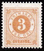 1877. Circle Type. Perf. 13. 3 øre Yellow Brown. BEAUTIFUL. (Michel 17B) - JF100794 - Neufs