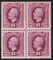 1891-1904. Oscar II. 8 öre Red Violet. Beautiful Block-of-4. (Michel 42) - JF100911 - Neufs