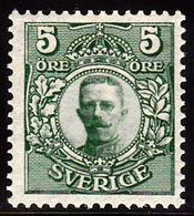 1910-1914. Gustav V. 5 öre Green Wmk. Crown. (Michel 60) - JF100928 - Neufs