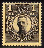 1910-1914. Gustav V. 1 Kr. Black, Yellow Wmk. Crown. (Michel 62) - JF100930 - Neufs