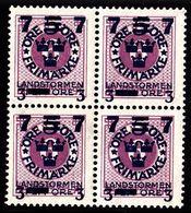 1918. Landstorm III. 7+3 On 5+Fem Öre On 6 ö. Lilac Wmk Wavy Lines. Block Of 4. (Michel 119) - JF101029 - Neufs