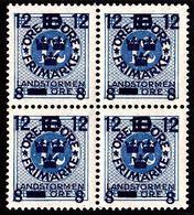 1918. Landstorm III. 12+8 On 10+Tio Öre On 12 ö. Pale Blue Wmk Wavy Lines. Block Of 4... (Michel 120) - JF101030 - Neufs