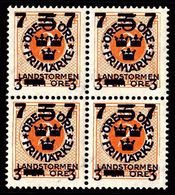 1918. Landstorm III. 7+3 On 5+Fem Öre On 2 ö Orange Wmk Wavy Lines. Block Of 4. (Michel 115) - JF101033 - Neufs