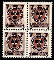 1918. Landstorm III. 7+3 On 5+Fem Öre On 3 ö Yellow Brown Wmk Wavy Lines. Block Of 4. (Michel 116) - JF101034 - Neufs