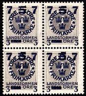 1918. Landstorm III. 7+3 On 5+Fem Öre On 4 ö. Gray Wmk Wavy Lines. Block Of 4. (Michel 117) - JF101035 - Neufs