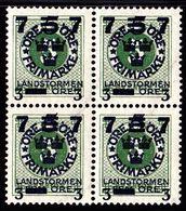1918. Landstorm III. 7+3 On 5+Fem Öre On 5 ö Green Wmk Wavy Lines. Block Of 4. (Michel 118) - JF101036 - Neufs