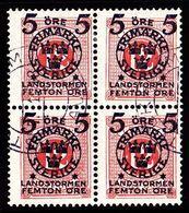 1916. Landstorm II. 5+Femton Öre On 12 Ö. Pale Red. Block Of 4. (Michel 101) - JF101039 - Oblitérés