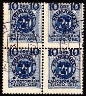 1916. Landstorm II. 10+Tjugo Öre On 20 Ö. Blue. Block Of 4. (Michel 102) - JF101040 - Oblitérés