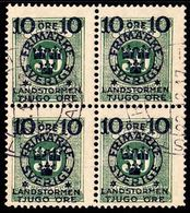 1916. Landstorm II. 10+Tjugo Öre On 30 Ö. Green. Block Of 4. (Michel 104) - JF101041 - Oblitérés