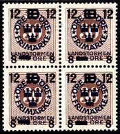 1918. Landstorm III. 12+8 On 10+Tio Öre On 30 ö. Brown Wmk Wavy Lines. Block Of 4. (Michel 123) - JF101032 - Neufs