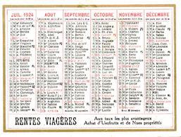 Mini Calendrier 1924 Publicité Phénix Assurances Et Rentes Viagères - Petit Format : 1921-40