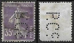 FRANCE  1906  -Semeuse 35c   Perforé  P.C.c. - Proton - Court Et Cie - Ancoper 7 - Perfins