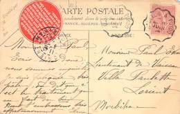 MARCOPHILIE FRANCE / VIGNETTE  SUR CPA - Franking Labels