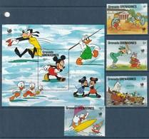 GRENADA Grenadines - N°818/21+Bloc N°143 ** (1988) WALT DISNEY - J.O De Séoul - Disney